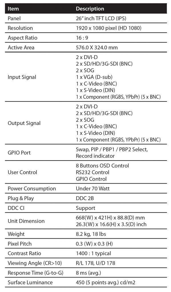 Monitor medyczny FS-P2603D